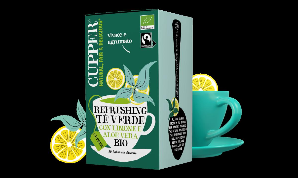 Tè verde al limone e aloe vera biologico e fairtrade